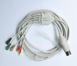6 Pino Casquilhos inteiriços, cabo de ECG de 5 derivações