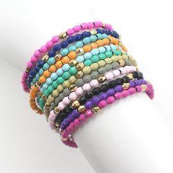 여성용 Mlgm Alloy enamel Beads 팔찌 기프트 골드 비드 패션 쥬얼리 컬러풀한 비딩 탄성 스트링 사용자 정의 팔찌 세트 공장 도매
