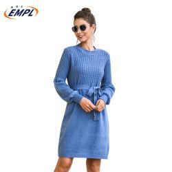 Gestrickte Kleid-Hauch-lange Hülsen-Schärpen schnüren sich oben kurzer Kleid-Winter-strickendes Strickjacke-Kleid-Frauen-Kleid