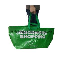 Gran Promoción reciclado tejido impermeable de polipropileno bolsa de playa Bolsa de compras de comestibles reutilizables Bolsa no tejido bolsa de ropa de tela