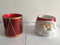 Forma de tambor rojo cerámica Maceta fuera de color de dibujo de Navidad de planta de jardín Usefor