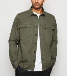 Kundenspezifisches normales kakifarbiges doppeltes Pocket Shacket Hemd für Männer