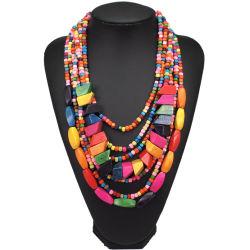 Abalorios de madera multicapa de Bohemia Collares Gargantilla artesanal para mujeres Declaración biselado joyas collar de África