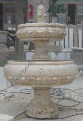 Amarillo antiguos tallados en piedra de color beige travertino Fuente de agua para interiores, exteriores (SY-F192)