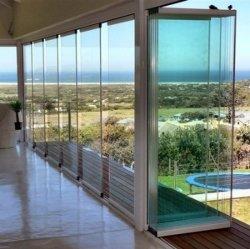 Interior e exterior da estrutura e sem caixilho partição de vidro corrediço Bifolding Entrada porta rebatível com 12mm de vidro laminado temperado