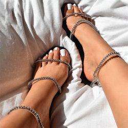 Commerce de gros Fashion femmes Chaussures Pantoufles Chaussures sangles Mesdames diamants Sandales plates