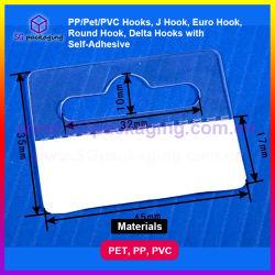PP/Pet/PVC 훅, J 훅, 유럽 훅, 둥근 훅, 자동 접착을%s 가진 델타 훅