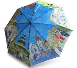 Handgemachte faltende Frau Anti-UVSun des Regenschirm-europäische Land-Ölgemälde-Regenschirm-drei/Regen-automatisches Regenschirm-Geschenk
