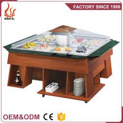 acier inoxydable Junjian 4 / 5 / 6 casseroles Cooling Cabinet réfrigérateur Présentoir de comptoir en marbre Table en bois Haut de page bar à salade