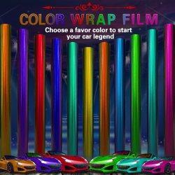 Gloire 1,52 x18m OEM chromé brillant Film PVC auto-adhésif Full Auto Body autocollants Véhicule enrouler le film de vinyle