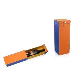 Cuero personalizada Caja cajón portador de la botella de vino Caja de regalo (5987)