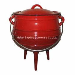 Esmalte vermelho Potjie sul-africano de ferro fundido Pot para camping