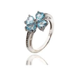 Mode bijoux bleu ciel Topaz 925 bague argentée pour cadeau