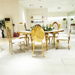 La moderna mesa de comedor y una silla de acero inoxidable superior de cristal mesa de comedor