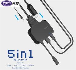 USB-C Hub HDMI+USB2.0,+PD carregando+VGA+DC Carregador de Áudio Portátil do Cubo do Cabo