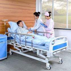 A3K metallo 3 manovella 3 funzione regolabile Mobili medici pieghevole Letto ospedaliero di cura manuale del paziente con ruote