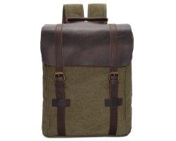 Elegante diseño europeo Vintage lienzo de algodón cubierta de cuero mochila portátil de la escuela Unisex