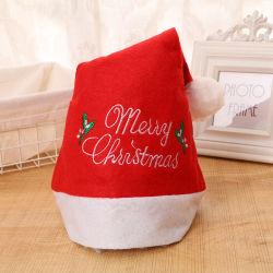 Le velours rouge adulte décorations de fête Festival joyeux noël santa Hat broderie chapeaux de Noël