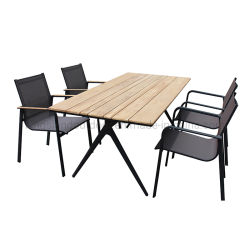 Muebles de jardín mesa de comedor exterior de aluminio con teca Top