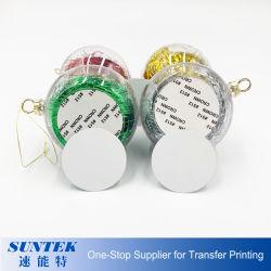 Boule de Noël en plastique transparent de la sublimation de l'impression de transfert de chaleur