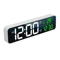 Visualizzazione di LED di Digitahi della sveglia grande con il calendario della data & di temperatura, specchio dell'orologio di parete dell'orologio del lato del letto con una luminosità registrabile 4 dei 40 di musica 2 livelli degli allarmi 6