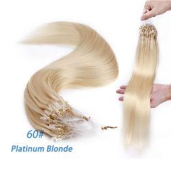 """60# Platinum Blonde 20"""" 0.5g/S 100pcs droites Non-Remy Micro cordon Hair Extensions Les extensions de cheveux humains de boucle Micro Micro Extensions de sonnerie"""