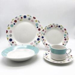 Klassisches Durable Keramik Essgeschirr 20pcs Dinner Set mit Flower Design Keramikplatte