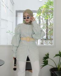 Les femmes de la bouffée d'automne OEM musulman vert occasionnels à manches longues Tee-shirt Plaid chemisier