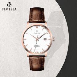 Horloge 72405 van de Mens van de Riem van het Leer van de Mensen van het Horloge van het roestvrij staal Automatisch