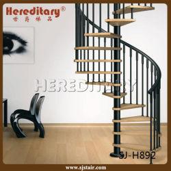 プレハブの鋼鉄木製のまっすぐなステアケース/アーク階段/Spiralのステアケース