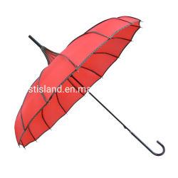 Commerce de gros de la princesse rouge manuel à long manche ouvert pagode de mariage Parasol Parasol pour dame