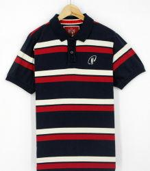 2017 hombres personalizados de hilados de algodón rojo tinte Peached Stripe POLO MANGA CORTA camisas ropa (S8145)