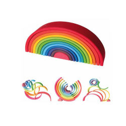 Stapelaars van uitstekende kwaliteit van de Regenboog van de Blokken van de Brug van het Stuk van de Regenboog Blocks12 van Grimms van het Speelgoed van Materiales Montessori de Houten