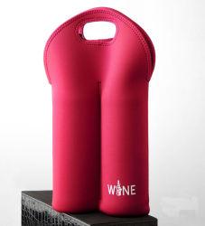 Vente de vin chaud sac fourre-tout transporteur deux bouteilles de vin en néoprène Porte-bouteille isotherme avec poignée souple