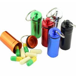 Mini étanche de médecine de l'aluminium métal pilule Case Cas conteneur porte-bouteille avec le trousseau