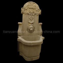 Sculptées en pierre de marbre beige Lion fontaines mural extérieur pour le jardin