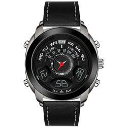 Vier Farben-Uhr-Silikon-oder Leder-Uhr-Legierungs-Kasten mit IP, das Digitaluhren (JY-PU023, überzieht)
