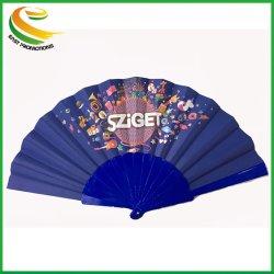 Cadeau d'affaires de style artificielle utiliser 23cml sublimation de la publicité imprimée pliable en plastique du ventilateur de la main