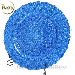 Commerce de gros de verre or rose bleu perle de la plaque de chargeur pour mariage