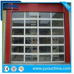 비용 효율적인 맞춤형 투명 폴리카보네이트 또는 강화 유리 슬라이딩 단면 오버헤드 차고 문(4초 매장