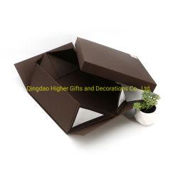 Aangepast Gerecycleerd Vouwend het Deksel van het Document & het Vakje van de Gift van het Karton van de Basis met Lint en Tussenvoegsel