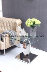 Le verre trempé de gros haut carré de table Table latérale de thé pour mobilier de maison