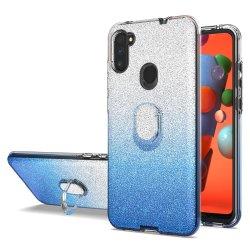 Het harde Sterke Mobiele Geval van het Kristal van het Document PC van de Telefoon Schokbestendige Glanzende met de Houder van de Ring voor Samsung A11 ons