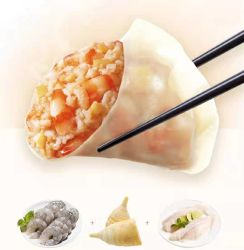 مأكولات بحرية صينية مجمدة مطهية بالبخار، ومفرقة حشوة الروبيان الكاملة