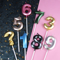 5 سم أوبرا على شكل شمعة رقمية مع شمعة ذهبية شعبية