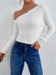 ウィメンズウェア Slash Neck セーター Pure Color Slim セーターアパレル 在庫
