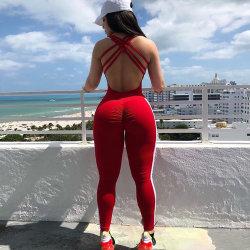 브라질 스크런치 버트 여성용 원피스 요가 스포츠웨어 피트니스 센터 점프슈트