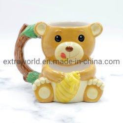 Hochwertige Promotion 3D Cute Honig gelben Bären Kaffee Becher Mit Kekstasche für Kinder