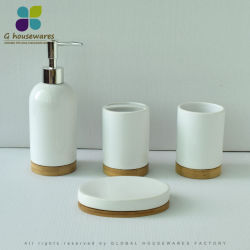 Simple Marble StyleのタケCeramic Bathroom Lotion Dispenser Soap Dispenser Soap Dish