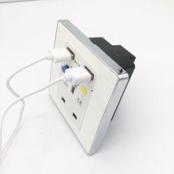 13A conector hembra de protección frente a fugas estándar británico con certificación CE para pared Toma con toma de puerto de carga USB